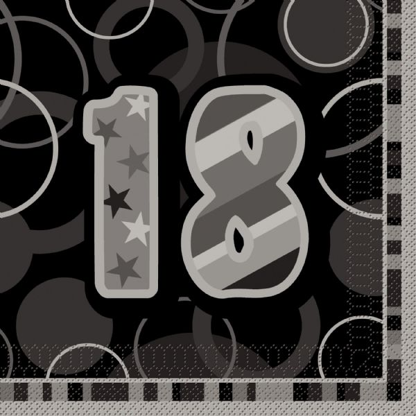 Birthday Glitz  Black/Silver 18th Napkins